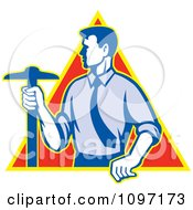 Clipart Retro Styled Architect Holding A T Square Drafting Tool Over A Triangle Royalty Free Vector Illustration by patrimonio
