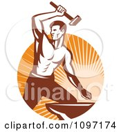 Strong Woodcut Retro Blacksmith Striking An Anvil With A Hammer Over Rays