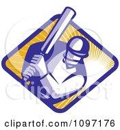 Retro Cricket Player Batsman Over A Ray Diamond