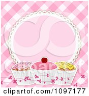 Clipart Pink Gingham Background With A Frame And Cupcakes Royalty Free Vector Illustration by elaineitalia #COLLC1097177-0046