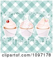 Clipart Blue Gingham Cupcake Background With Vines Royalty Free Vector Illustration