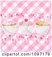 Clipart Pink Gingham Cupcake Background With Vines Royalty Free Vector Illustration