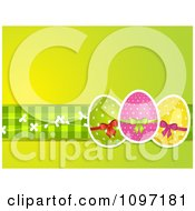 Clipart Green Easter Background With Three Polka Dot Eggs And Gingham Royalty Free Vector Illustration