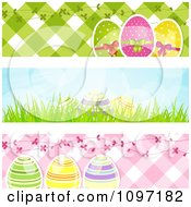 Clipart Three Easter Egg Website Banners With Pink And Green Gingham And Blue Sky Royalty Free Vector Illustration