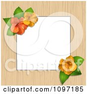 Border Or Frame Of Wood And Hibiscus Flowers With Copyspace