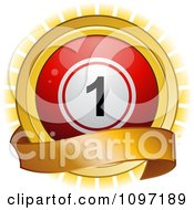 Clipart 3d Red Bingo Ball And Blank Banner Over A Burst Royalty Free Vector Illustration