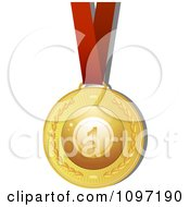 Clipart 3d Golden Bingo Ball Medal On A Red Ribbon Royalty Free Vector Illustration