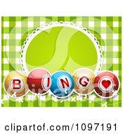 Clipart Green Gingham Bingo Ball Frame Background Royalty Free Vector Illustration