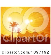 Clipart Silhouetted Crowd And Tents Under Tropical Palm Trees At Sunset Royalty Free Vector Illustration