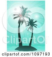 Clipart Blue Tropical Island With Palm Trees And Flares With Blue Rays Royalty Free Vector Illustration