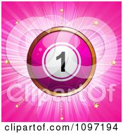 Clipart 3d Pink And Gold Lottery Of Bingo Ball Over Pink With Stars And Flares Royalty Free Vector Illustration