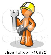 Proud Orange Construction Worker Man In A Hardhat Holding A Wrench Clipart Illustration