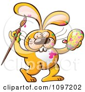 Clipart Messy Orange Easter Bunny Getting Paint On His Body While Decorating An Egg Royalty Free Vector Illustration by Zooco