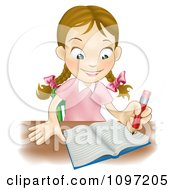 Clipart Happy Caucasian School Girl Writing In A School Notebook Royalty Free Vector Illustration by AtStockIllustration
