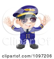 Friendly Airline Pilot Wearing Sunglasses And Waving With Both Hands