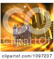 Clipart Silhouetted Business Team Standing Over A Golden Skyscraper Background Royalty Free Vector Illustration by AtStockIllustration