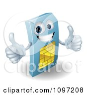 Clipart 3d Blue SIM Card Mascot Holding Two Thumbs Up Royalty Free Vector Illustration