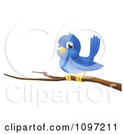 Clipart Cute Blue Bird Perched On A Bare Tree Branch Royalty Free Vector Illustration by AtStockIllustration