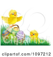 Cute Easter Chicks With A Basket And Eggs In Grass