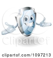 Clipart Friendly Blue And Chrome Shield Mascot Holding His Hands Out Royalty Free Vector Illustration by AtStockIllustration