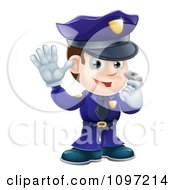 Clipart Friendly Male Police Officer Holding A Hand Up And Using A Whistle Royalty Free Vector Illustration