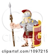 Clipart Buff Roman Soldier With A Shield And Spear Royalty Free Vector Illustration