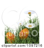 Clipart 3d Background Of Orange Easter Eggs In Grass With White Daisies Royalty Free CGI Illustration