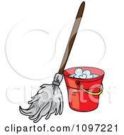 Mop Resting Against A Red Cleaning Bucket