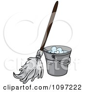Clipart Mop Resting Against A Metal Cleaning Bucket Royalty Free Vector Illustration