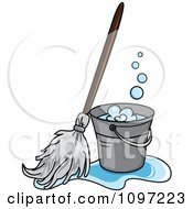 Clipart Mop In A Puddle Resting Against A Cleaning Bucket Royalty Free Vector Illustration