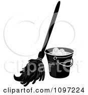 Clipart Black And White Mop Resting Against A Cleaning Bucket Royalty Free Vector Illustration by Pams Clipart #COLLC1097224-0007