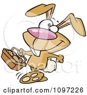 Clipart Happy Brown Easter Bunny Carrying A Basket Of Eggs Royalty Free Vector Illustration by toonaday