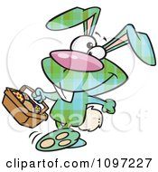 Clipart Happy Green Plaid Easter Bunny Carrying A Basket Of Eggs Royalty Free Vector Illustration by toonaday
