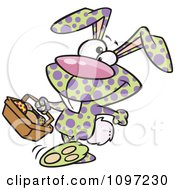 Clipart Happy Speckled Easter Bunny Carrying A Basket Of Eggs Royalty Free Vector Illustration by toonaday