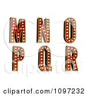 Clipart 3d Theatre Light Alphabet Set M Through R Royalty Free CGI Illustration