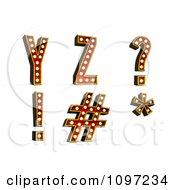 Clipart 3d Theatre Light Alphabet Set Y Z And Symbols Royalty Free CGI Illustration by stockillustrations #COLLC1097234-0101