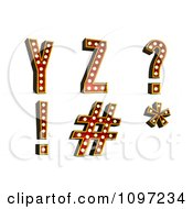 Clipart 3d Theatre Light Alphabet Set Y Z And Symbols Royalty Free CGI Illustration by stockillustrations