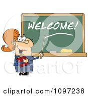 Clipart Friendly Female Teacher Pointing To Welcome On A Chalk Board Royalty Free Vector Illustration by Hit Toon
