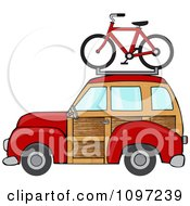 Clipart Red Woodie Station Wagon With A Bicycle On Top Royalty Free Vector Illustration