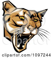 Clipart Fierce Puma Mascot Head Royalty Free Vector Illustration by Chromaco