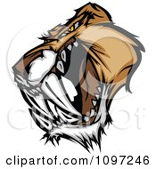Fierce Saber Tooth Tiger Mascot Head Growling