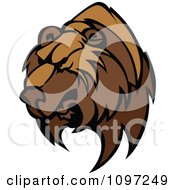 Clipart Fierce Brown Bear Mascot Head Royalty Free Vector Illustration