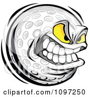 Clipart Aggressive Grinning Golf Ball Mascot Royalty Free Vector Illustration by Chromaco