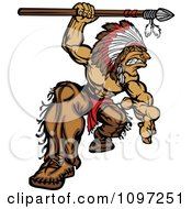 Muscular Native American Brave Chief Mascot Crouching With A Spear Over His Head