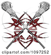 Clipart Lacrosse Ball And Sticks Over A Red Tribal Design Royalty Free Vector Illustration by Chromaco