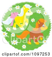 Two Cute Ponies Playing In A Spring Meadow With Wildflowers