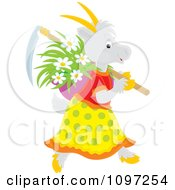Clipart Female Gardening Goat Carrying A Scythe And Basket Of Flowers Royalty Free Vector Illustration by Alex Bannykh