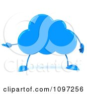 Clipart 3d Blue Cloud Character Presenting Royalty Free CGI Illustration