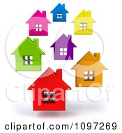 Clipart Neighborhood Of 3d Floating Colorful Houses Royalty Free CGI Illustration