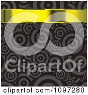 Clipart 3d Gold Banner Over A Brown Retro Circle Pattern Royalty Free Vector Illustration